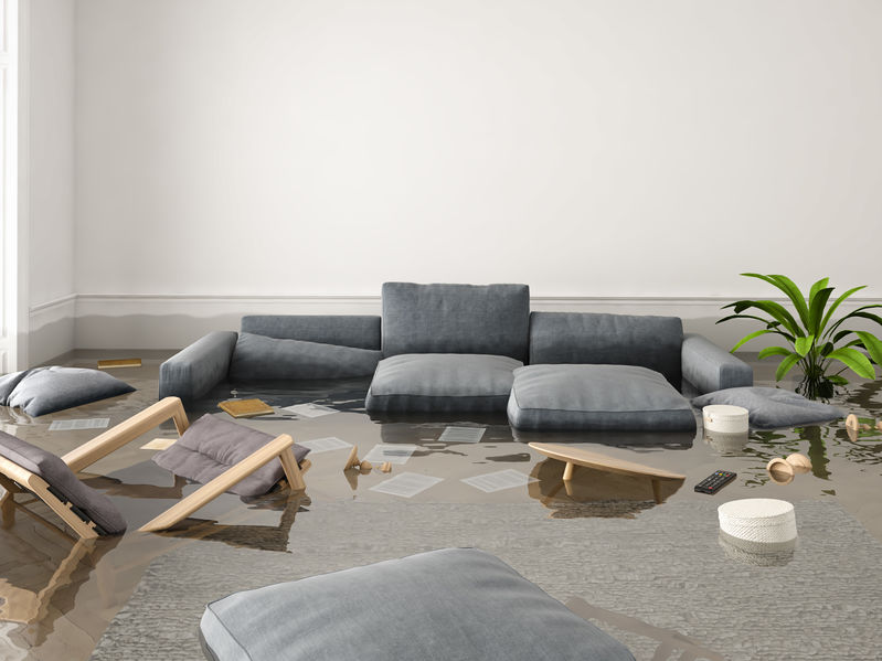 water damage living room
